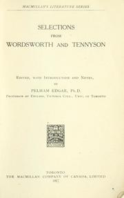 Cover of: Selections from Wordsworth and Tennyson