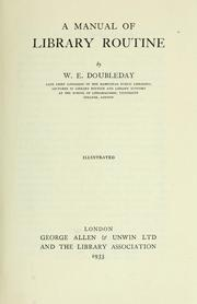 Cover of: A manual of library routine