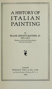 Cover of: A history of Italian painting