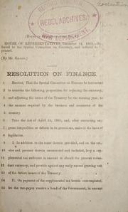 Cover of: Resolution on finance