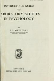 Cover of: Instructor's guide to laboratory studies in psychology