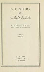 Cover of: A history of Canada