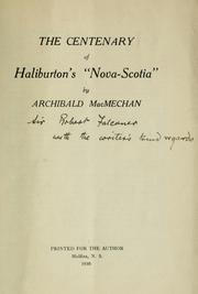 "Cover of: The centenary of Haliburton's ""Nova Scotia"""