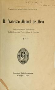 Cover of: D. Francisco Manuel de Melo