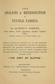 Cover of: The analysis & reproduction of textile fabrics
