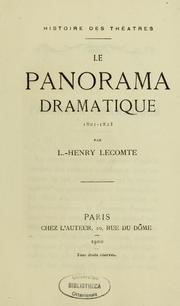 Cover of: Le Panorama dramatique