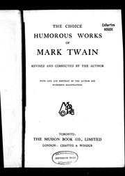 Cover of: The choice humorous works of Mark Twain