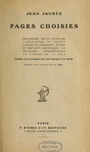 Cover of: Pages choisies; philosophie, art et socialisme, l'éducation de peuple, l'avenir de l'humanité