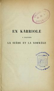 Cover of: En karriole à travers la Suède et la Norwège