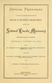 Cover of: Official programme on the order of exercises connected with the unveiling of the statue of Abraham Lincoln upon the National Lincoln Monument