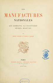Cover of: Les manufactures nationales