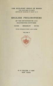 Cover of: English philosophers of the seventeenth and eighteenth centuries