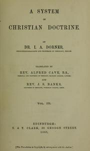 Cover of: A system of Christian doctrine