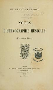Cover of: Notes d'ethnographie musicale
