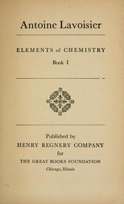 Cover of: Elements of chemistry, Book I.