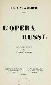 Cover of: L'opéra russe