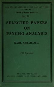 Cover of: Selected papers of Karl Abraham