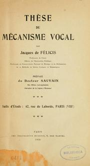 Cover of: Thèse du mécanisme vocal