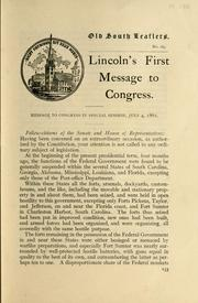 Cover of: Lincoln's first message to Congress
