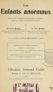 Cover of: Les enfants anormaux