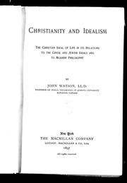 Cover of: Christianity and idealism