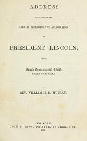 Cover of: Address delivered on the Sabbath following the assassination of President Lincoln