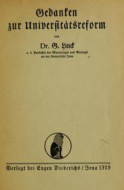 Cover of: Gedanken zur Universitatsreform