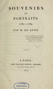 Cover of: Souvenirs et portraits. 1780-1789
