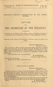 Cover of: President Lincoln's instructions to tax commissioners