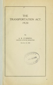 Cover of: The transportation act, 1920