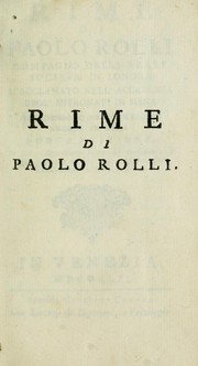 Cover of: Rime, di Paolo Rolli