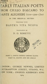Cover of: The early Italian poets from Ciullo d'Alcamo to Dante Alighieri