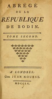 Cover of: Abrégé de la République de Bodin