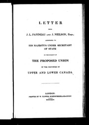 Cover of: Letter from J.L. [sic] Papineau and J. Neilson, Esqs