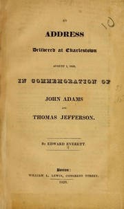 Cover of: An address delivered at Charlestown, August 1, 1826