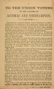Cover of: To the Union voters of the counties of Accomac and Northampton