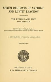 Cover of: Serum diagnosis of syphilis and luetin reaction