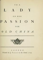 Cover of: To a lady on her passion for old china
