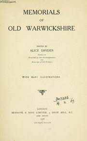 Cover of: Memorials of old Warwickshire