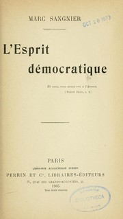 Cover of: L'esprit démocratique