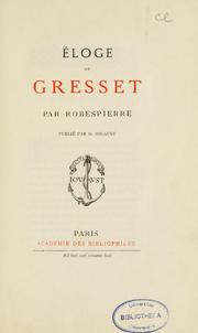 Cover of: Éloge de Gresset