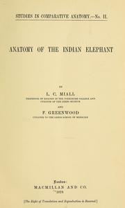 Cover of: Anatomy of the Indian elephant