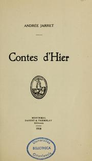Cover of: Contes d'hier