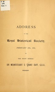Cover of: Address to the Royal historical society