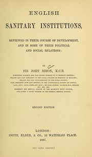 Cover of: English sanitary institutions