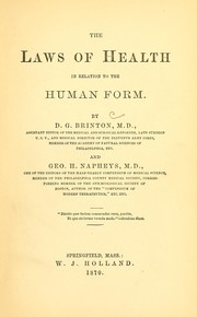 Cover of: The laws of health in relation to the human form