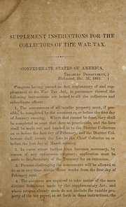 Cover of: Supplement instructions for the collectors of the war tax ..: Dec. 26, 1861