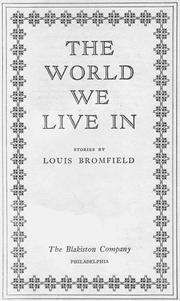 Cover of: The World We Live In
