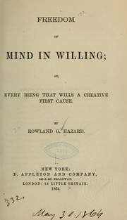 Cover of: Freedom of mind in willing