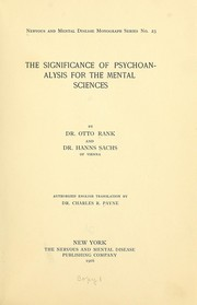 Cover of: The significance of psychoanalysis for the mental sciences